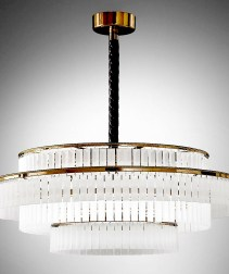 Luxury Chandelier in gold and satin glass