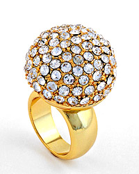 GOLDTONE / CLEAR RHINESTONES / Lead Compliant / SIZE 6 / RING