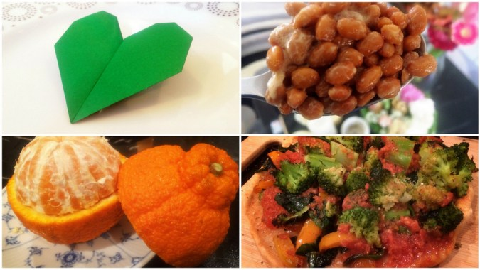1. Top left - fasting for Love 2. Top right - heaping spoonful of Hiro's natto, for probiotic explosion 3. Bottom left - break the fast with a fresh dekopon, one of Japan's finest oranges 4. Whole wheat pizza with vegetables from the Ginza Farmers Market