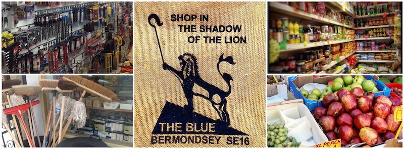 Blue Bermondsey shopping collage