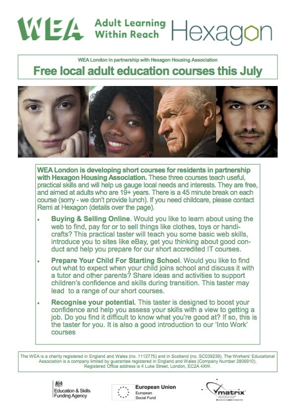 Free local adult education courses this July at Big Local Works