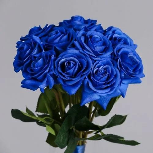 Artificial Blue Rose silk flowers (3)