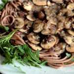 Creamed Mushrooms with Spaghetti and Rocket