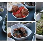 Three kinds of warm Tapas with olives