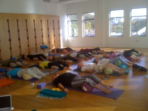 relaxation after workshop at One Center Yoga