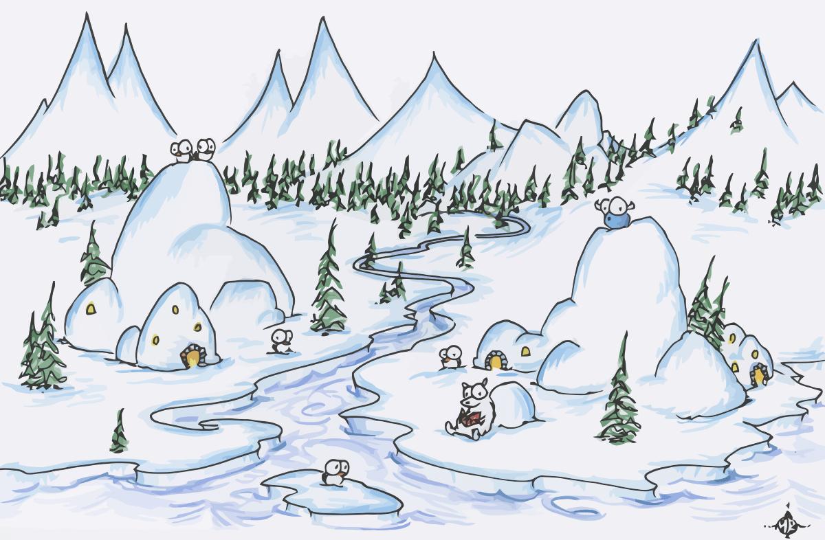 Polar Bear Reading With Penguins