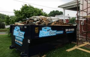 Renovation mess in Blue Box Rental dumpster