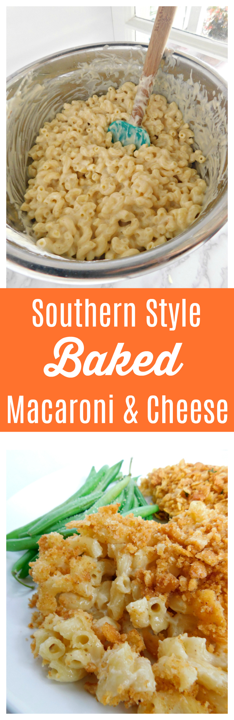 Southern Style Baked Macaroni and Cheese is perfect for dinner, potlucks and holidays. Made with three cheeses, this mac and cheese recipe is creamy and full of flavor!