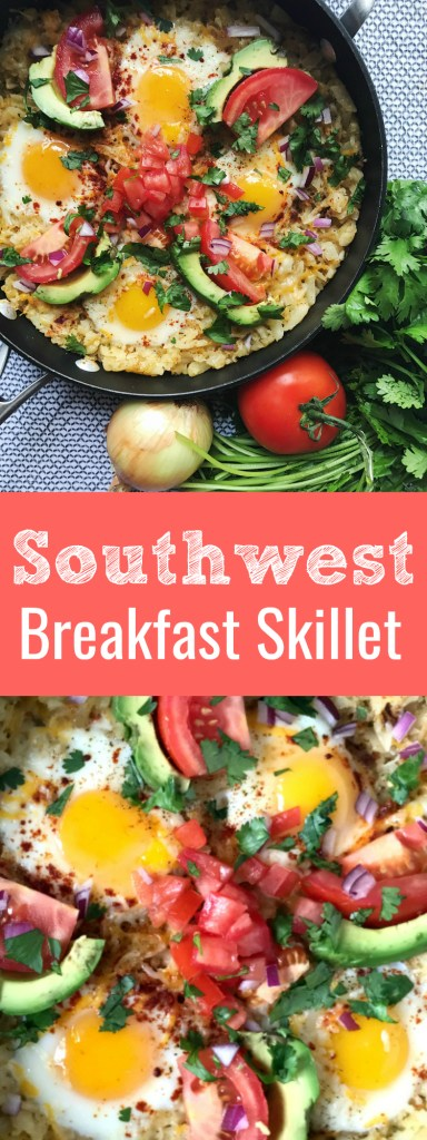 Southwest Breakfast Skillet is perfect southwest twist on a yummy hash brown dish! This is perfect for breakfast or brunch all year round.
