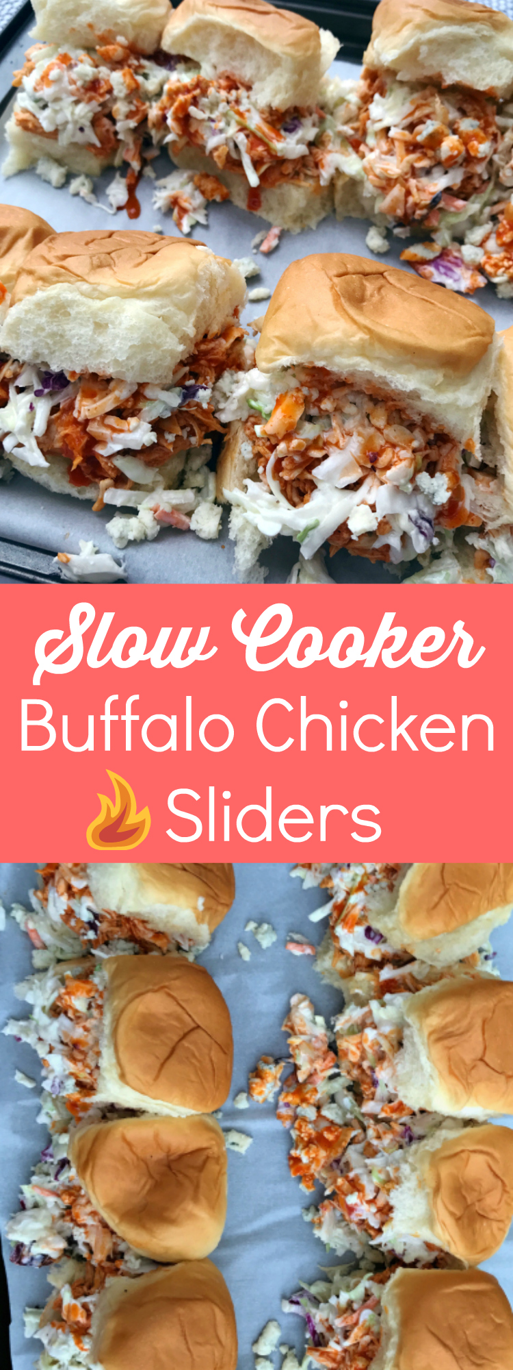 These spicy little buffalo chicken sandwiches are the perfect game-day food! Made in a crock pot, these sandwiches are easy to make and even easier to transport to a football tailgate.