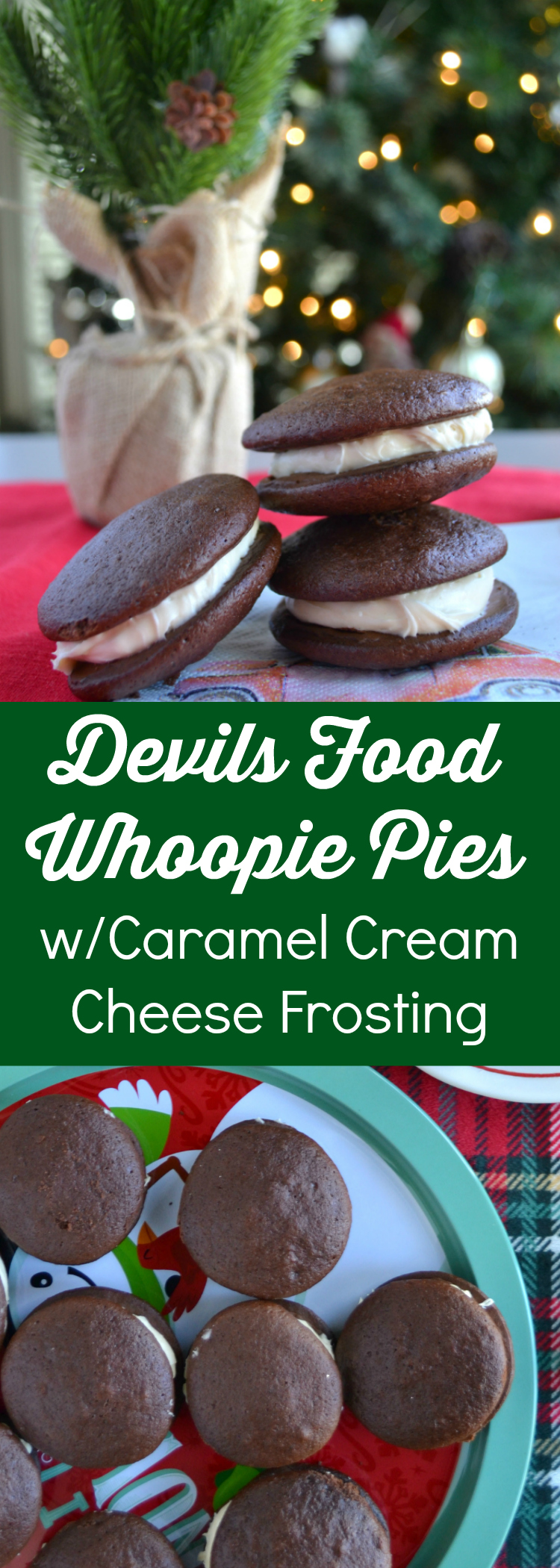 Devils Food Whoopie Pies with Caramel Cream Cheese Frosting are the best chocolate sandwich cookie. Transform a boxed cake mix and bake up a batch of these classic chocolate whoopie pies for a decadent, unique dessert. Fill with this rich caramel cream cheese frosting – perfect for parties!