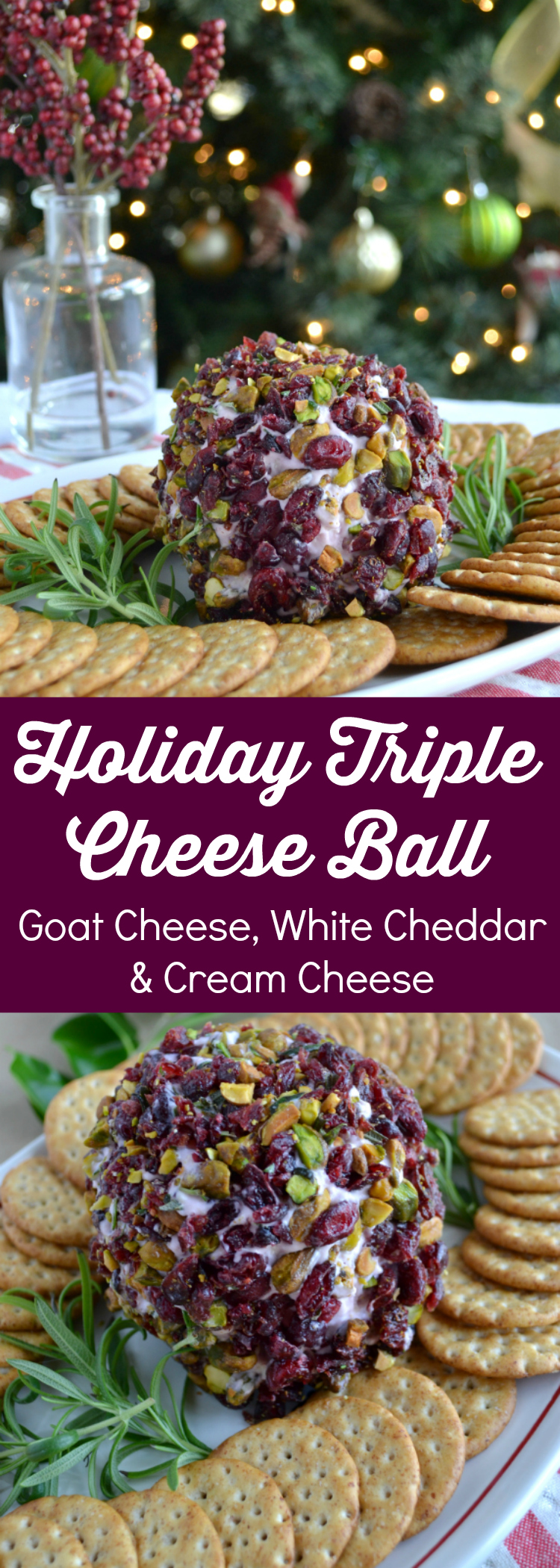 This Holiday Cheese Ball with cranberries is the perfect holiday party appetizer! Goat cheese, cream cheese, aged cheddar and cranberries create the perfect balance of tangy and sweet.