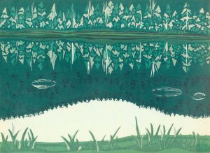 Linoleum Block Relief Print for Sale - Boundary Lake, British Columbia