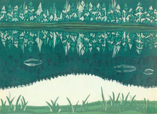 Linoleum Block Relief Print for Sale - Boundary Lake, British Columbia