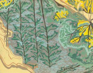 Linoleum Block Relief Print for sale - Quetico Provincial Park, ONT