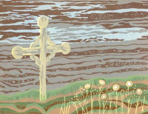 Linoleum Block Relief Art Print For Sale - Cap Chat, Gaspé Peninsula, Quebec