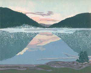 Linoleum Block Relief Print for Sale - Jewel Lake, BC