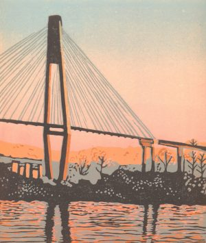 Original Linoleum Relief Art Print for sale - Bridge Into Morning
