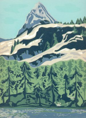 Original Linoleum Relief Art Print for Sale - Crystal Crag Lake George