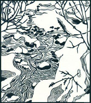 Original Linoleum Relief Art Print For Sale - Nancy Greene Lake, BC