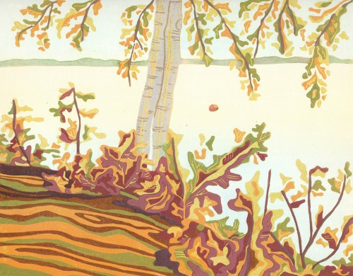 Original Linoleum Relief Art Print for sale - Good Morning Maine