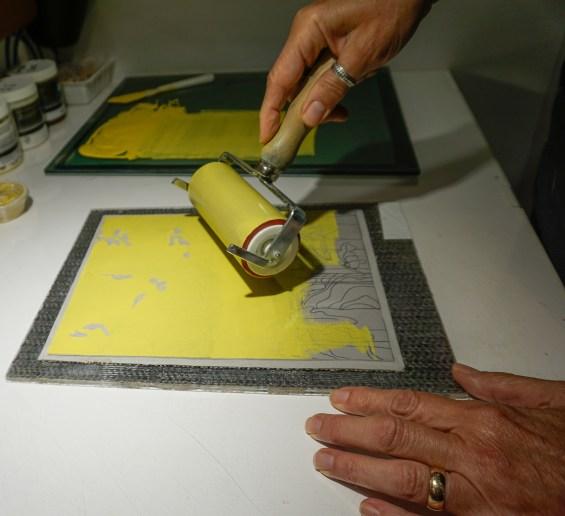 Linocut Tutorial, Inking the matrix - Blue Chisel Studio
