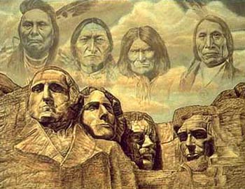 Four Native Americans posed as alternatives for Rushmore. (Challenge: Can you accurately identify the four? Please do.)