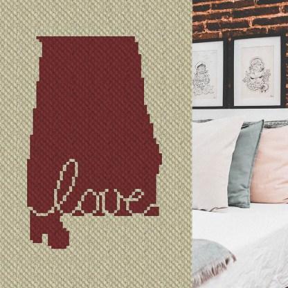 Alabama Love C2C Corner to Corner Crochet Pattern