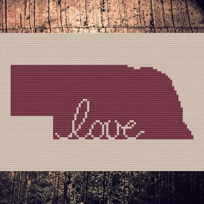 Nebraska Love Cross Stitch Chart