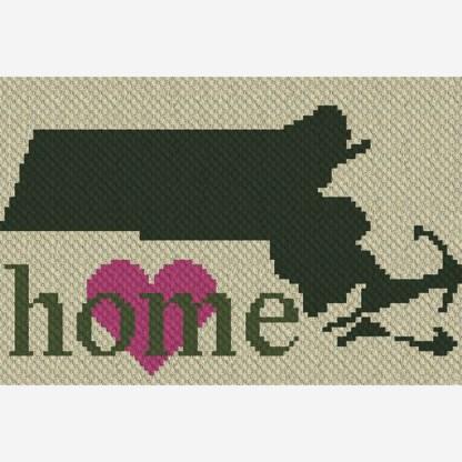 Massachusetts Home C2C Corner to Corner Crochet Pattern