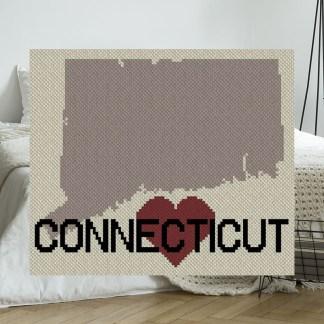 Heart Connecticut C2C Crochet Pattern Corner to Corner Graphghan Cross-Stitch Blue Frog Creek
