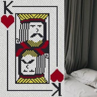 King of hearts corner to corner c2c crochet pattern