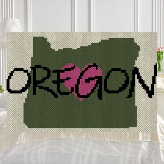 Heart Oregon C2C Afghan Crochet Pattern Corner to Corner Blanker Pattern Gaphghan Cross Stitch Blue Frog Creek