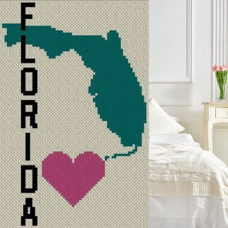 Heart Florida C2C Afghan Crochet Pattern Corner to Corner Crochet Blanket Graphghan Cross Stitch Chart Blue Frog Creek