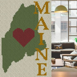 Heart Maine C2C Corner to Corner Crochet Pattern