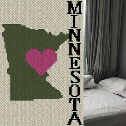 Heart Minnesota C2C Corner to Corner Afghan Crochet Pattern