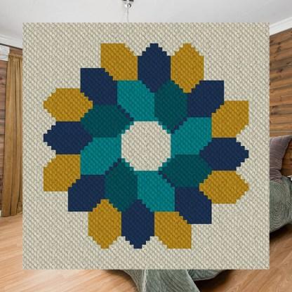 Fall Festoon C2C Lapghan Corner to Corner Crochet Pattern BlueFrogCreek.com