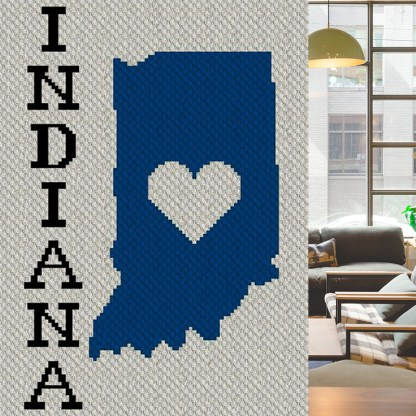 Heart Indiana C2C Corner to Corner Crochet Pattern