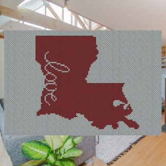 Louisiana Love C2C Afghan Corner to Corner Crochet Pattern for Blanket