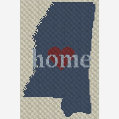 Mississippi Home C2C Afghan Crochet Pattern for Corner to Corner Graphghan Cross Stitch 800B Blue Frog Creek