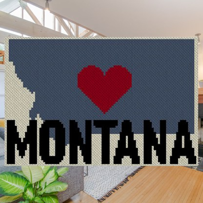 Heart Montana C2C Afghan Crochet Pattern Corner to Corner Cross Stitch Graghghan Blue Frog Creek