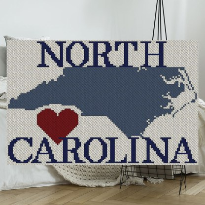 Heart North Carolina C2C Afghan Crochet Pattern Corner to Corner Cross Stitch Graphghan Blue Frog Creek