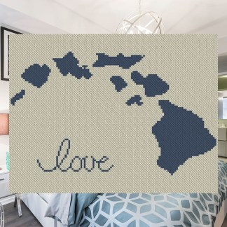 Hawaii Love Afghan C2C Crochet Pattern Corner to Corner Graphghan Cross Stitch Blue Frog Creek