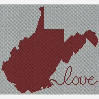 West Virginia Afghan C2C Crochet Pattern for Corner to Corner or Graphghan Blue Frog Creek