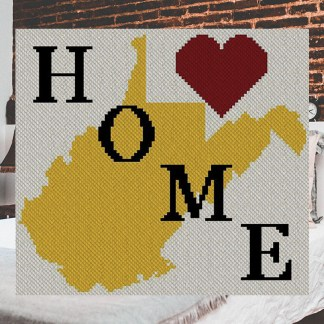 West Virginia home C2C Afghan Crochet Pattern Corner to Corner CrossStitch Graphghan Blue Frog Creek