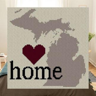 Michigan Home C2C Afghan Crochet Pattern Corner to Corner Graphghan Cross Stitch Blue Frog Creek 800B
