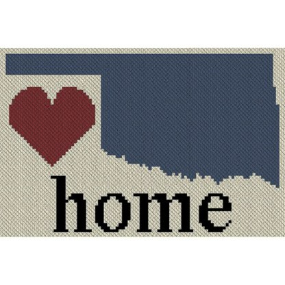 Oklahoma Home C2C Afghan Crochet Pattern Corner to Corner Blanket Cross Stitch Graphghan Blue Frog Creek