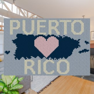 Heart Puerto Rico C2C Afghan Crochet Pattern Corner to Corner Blanket Cross Stitch Graphghan Blue Frog Creek