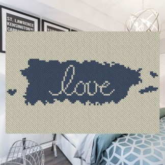 Puerto Rico Love C2C Afghan Crochet Pattern Corner to Corner Blanket Cross Stitch Graphghan Blue Frog Creek