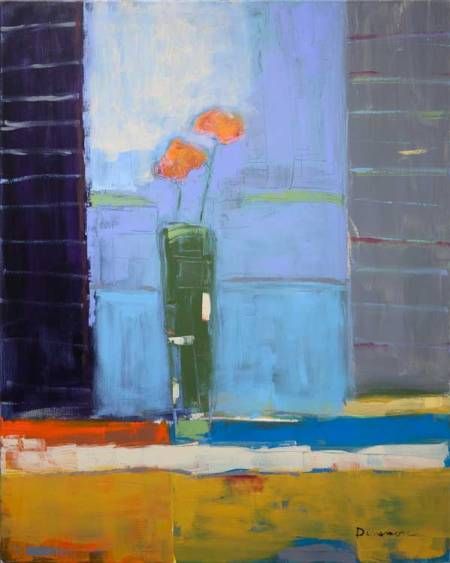 "Stephen Dinsmore Flowers in Vase in Window  oil on canvas 60"" x 48"""